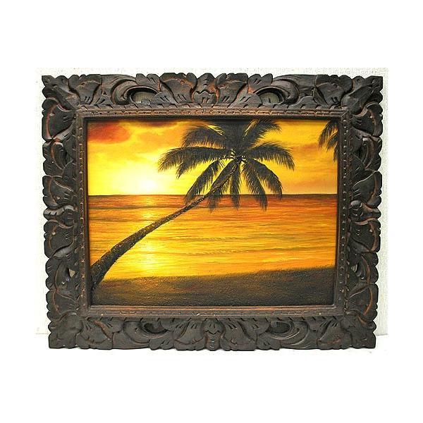アジアン雑貨 バリ雑貨 バリアート絵画 M 横 M.Santo 『椰子の木とサンセットビーチ』 [額横約53cmx縦43cm]|angkasa|02