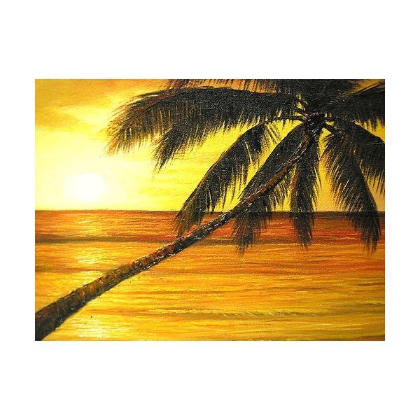 アジアン雑貨 バリ雑貨 バリアート絵画 M 横 M.Santo 『椰子の木とサンセットビーチ』 [額横約53cmx縦43cm]|angkasa|03