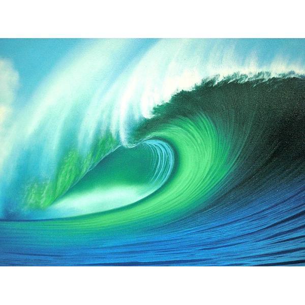アジアン雑貨 バリ雑貨 バリアート絵画 LL 横 『Big Wave』 Windy Special Order作品 [額横約94cmx縦54cm] angkasa 02