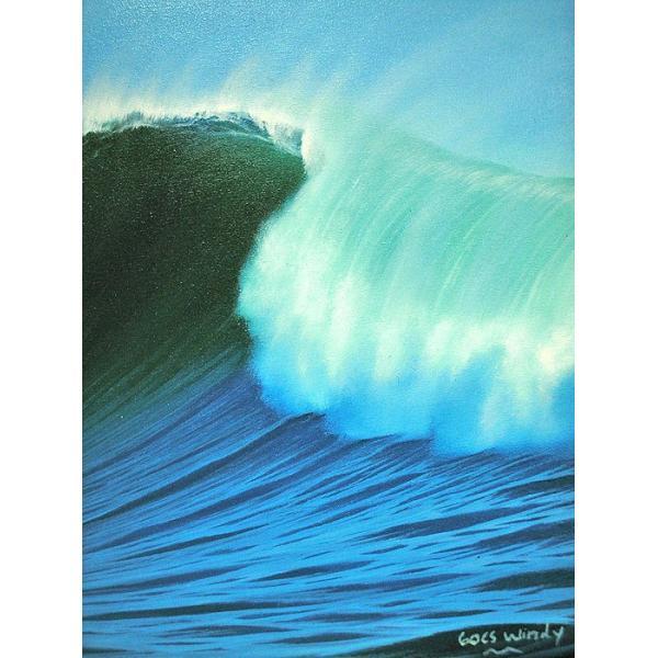アジアン雑貨 バリ雑貨 バリアート絵画 LL 横 『Big Wave』 Windy Special Order作品 [額横約94cmx縦54cm] angkasa 03