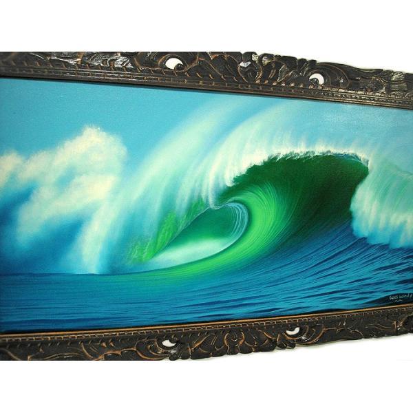 アジアン雑貨 バリ雑貨 バリアート絵画 LL 横 『Big Wave』 Windy Special Order作品 [額横約94cmx縦54cm] angkasa 04