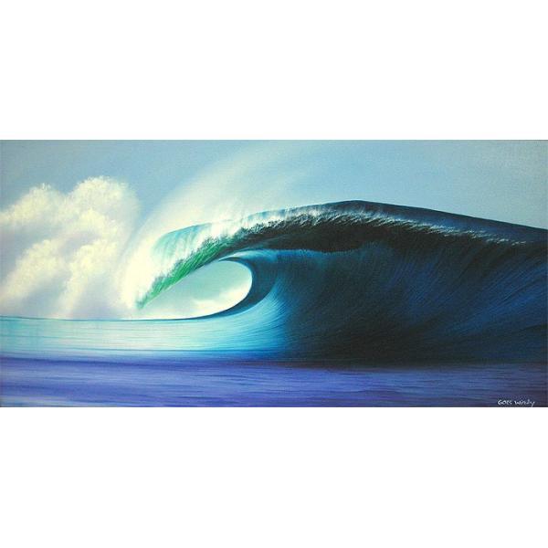 アジアン雑貨 バリ雑貨 バリアート絵画 LL 横 『Big Wave』 Windy Special Order作品 [額横約94cmx縦54cm] angkasa