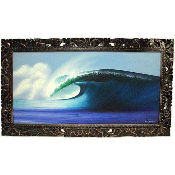 アジアン雑貨 バリ雑貨 バリアート絵画 LL 横 『Big Wave』 Windy Special Order作品 [額横約94cmx縦54cm] angkasa 05