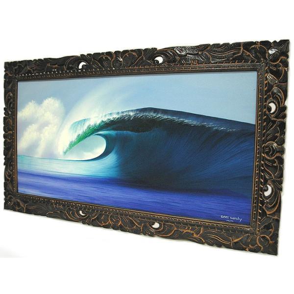 アジアン雑貨 バリ雑貨 バリアート絵画 LL 横 『Big Wave』 Windy Special Order作品 [額横約94cmx縦54cm] angkasa 06
