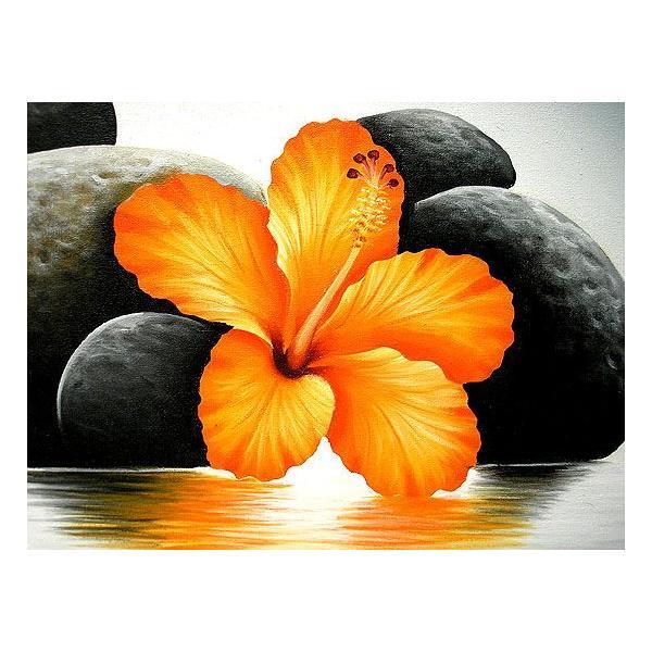 アジアン雑貨 バリ雑貨 バリアート絵画 LL 横 『水辺のハイビスカス w/ stones』 オレンジ 額横約73cmx63cm angkasa 03