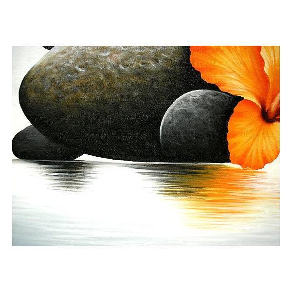 アジアン雑貨 バリ雑貨 バリアート絵画 LL 横 『水辺のハイビスカス w/ stones』 オレンジ 額横約73cmx63cm angkasa 04