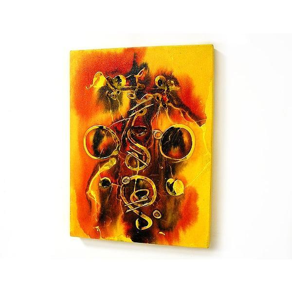 アジアン雑貨 バリ雑貨 バリアート絵画 M 縦 抽象画  [40x30cm] angkasa 03