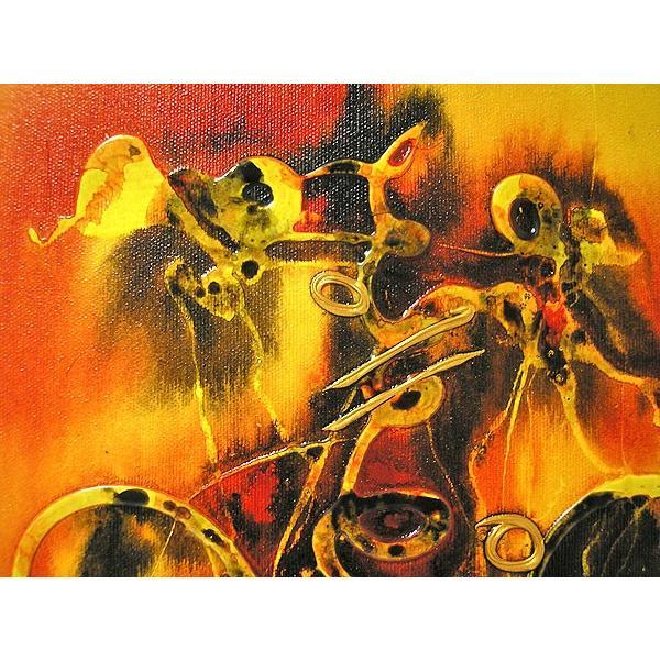 アジアン雑貨 バリ雑貨 バリアート絵画 M 縦 抽象画  [40x30cm] angkasa 05