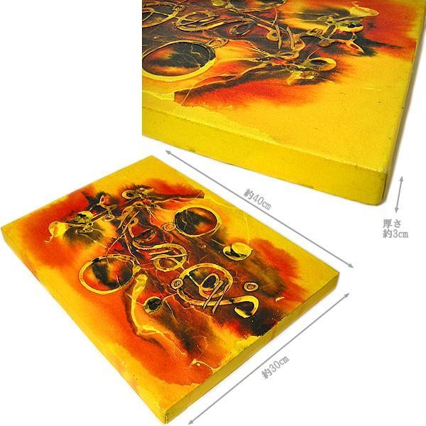 アジアン雑貨 バリ雑貨 バリアート絵画 M 縦 抽象画  [40x30cm] angkasa 06