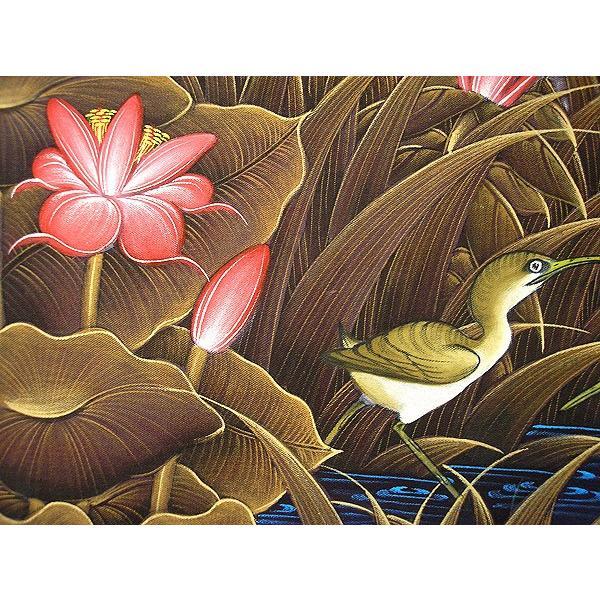 アジアン雑貨 バリ雑貨 バリアート絵画 M 横 水辺の小鳥達 ブラウン angkasa 03