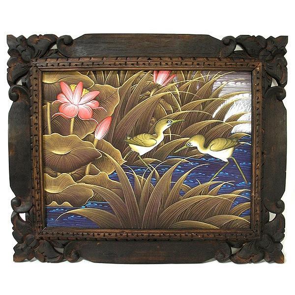 アジアン雑貨 バリ雑貨 バリアート絵画 M 横 水辺の小鳥達 ブラウン angkasa 04