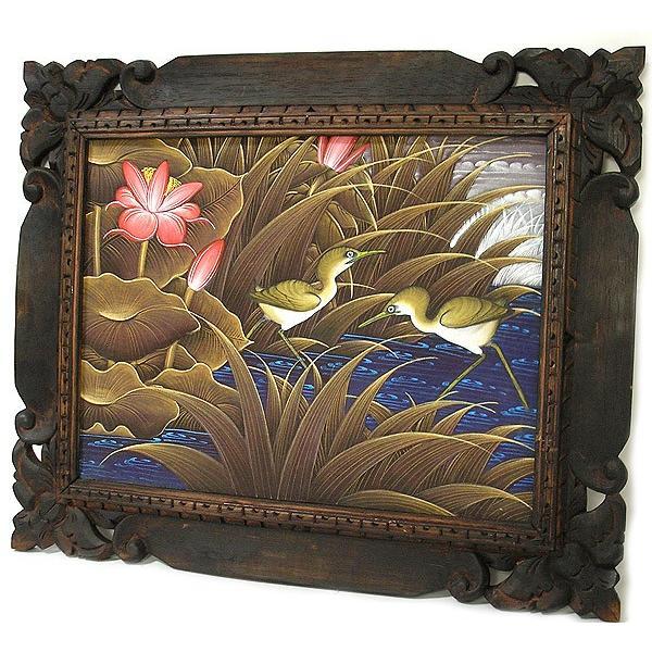アジアン雑貨 バリ雑貨 バリアート絵画 M 横 水辺の小鳥達 ブラウン angkasa 05