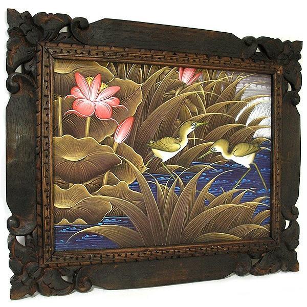 アジアン雑貨 バリ雑貨 バリアート絵画 M 横 水辺の小鳥達 ブラウン angkasa 06