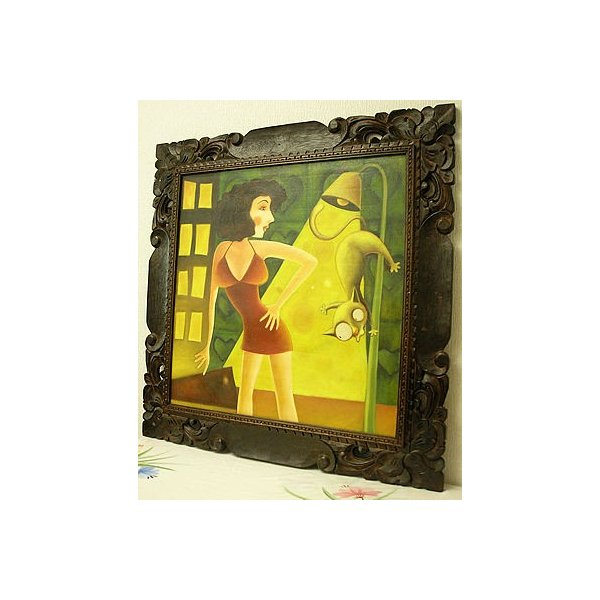 アジアン雑貨 バリ雑貨 バリアート絵画特大横『ショートドレスの女とネコ』|angkasa|06