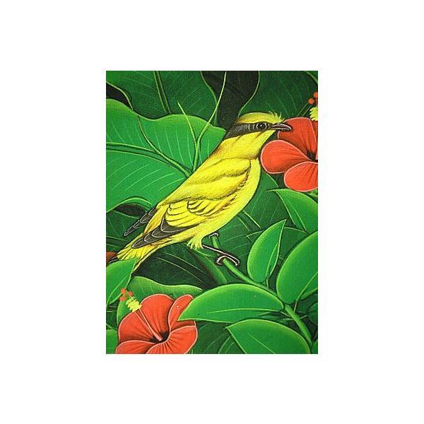 アジアン雑貨 バリ雑貨 バリアート絵画 M 横 森の小鳥達 黄 赤花|angkasa|03