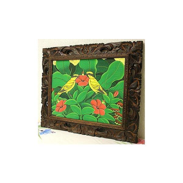 アジアン雑貨 バリ雑貨 バリアート絵画 M 横 森の小鳥達 黄 赤花|angkasa|04