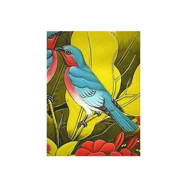 アジアン雑貨 バリ雑貨 バリ バリアート絵画 M 縦 森の小鳥達  薄青  黄葉|angkasa|03