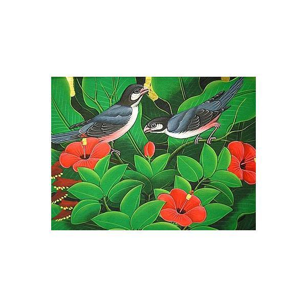 アジアン雑貨 バリ雑貨 バリアート絵画 M 横 森の小鳥達 グレー 赤花 angkasa