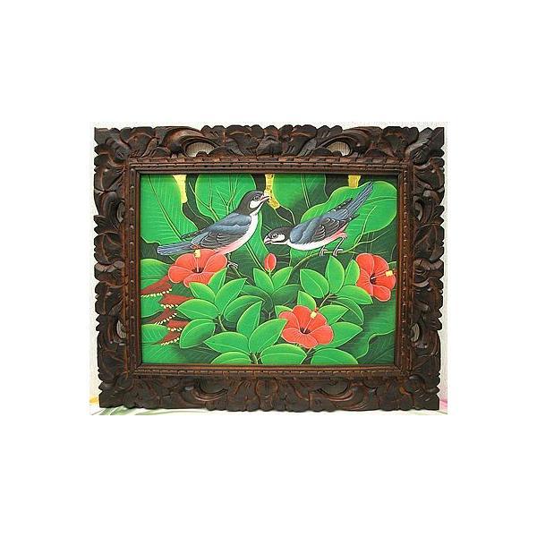アジアン雑貨 バリ雑貨 バリアート絵画 M 横 森の小鳥達 グレー 赤花 angkasa 02