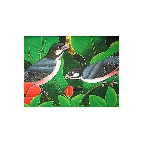 アジアン雑貨 バリ雑貨 バリアート絵画 M 横 森の小鳥達 グレー 赤花 angkasa 03
