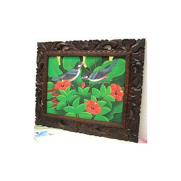 アジアン雑貨 バリ雑貨 バリアート絵画 M 横 森の小鳥達 グレー 赤花 angkasa 04