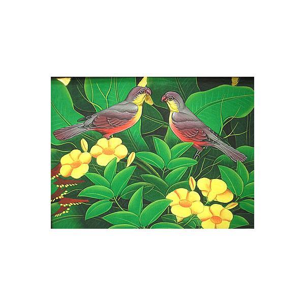 アジアン雑貨 バリ雑貨 バリ アート絵画 M 横 森の小鳥達 赤胸 黄花|angkasa