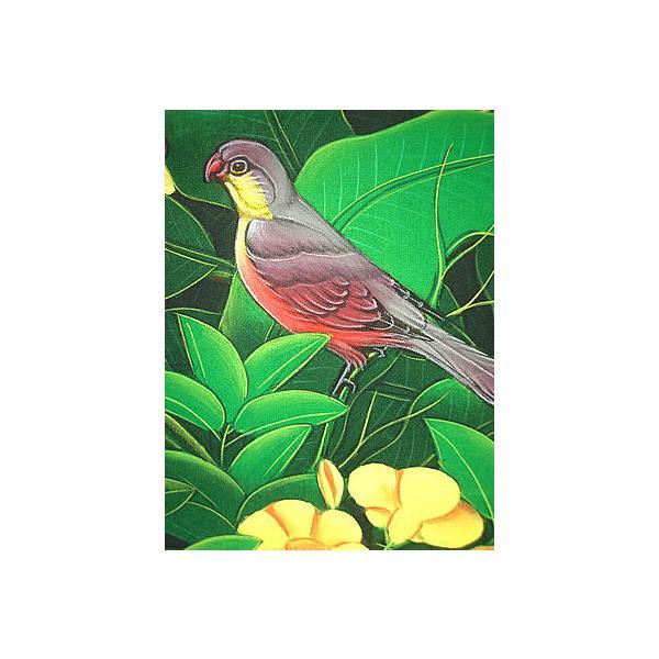 アジアン雑貨 バリ雑貨 バリ アート絵画 M 横 森の小鳥達 赤胸 黄花|angkasa|02