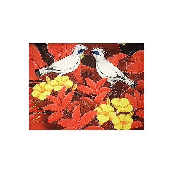 アジアン雑貨 バリ雑貨 バリアート絵画 M 横 森の小鳥達 黄花 赤バナナリーフ|angkasa