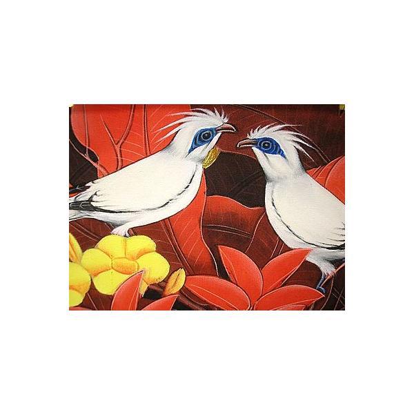 アジアン雑貨 バリ雑貨 バリアート絵画 M 横 森の小鳥達 黄花 赤バナナリーフ|angkasa|03