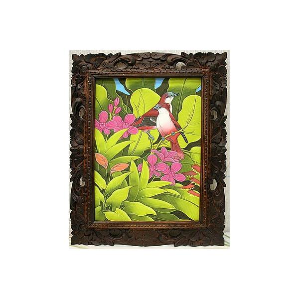 アジアン雑貨 バリ雑貨 バリ アート絵画 M 縦 森の小鳥達  赤背  黄緑葉 angkasa 02
