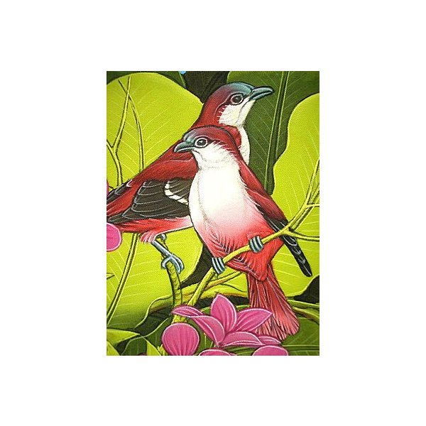 アジアン雑貨 バリ雑貨 バリ アート絵画 M 縦 森の小鳥達  赤背  黄緑葉 angkasa 03