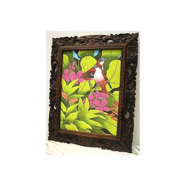 アジアン雑貨 バリ雑貨 バリ アート絵画 M 縦 森の小鳥達  赤背  黄緑葉 angkasa 04