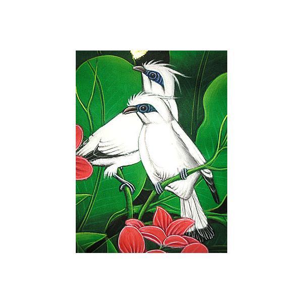 アジアン雑貨 バリ雑貨 バリ アート絵画 M 縦 森の小鳥達 白 赤花|angkasa|02