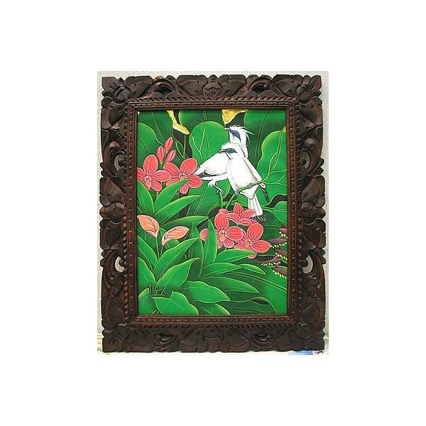 アジアン雑貨 バリ雑貨 バリ アート絵画 M 縦 森の小鳥達 白 赤花|angkasa|03
