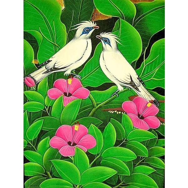 アジアン雑貨 バリ雑貨 バリアート絵画 M 縦 森の小鳥達 白 ピンク花|angkasa