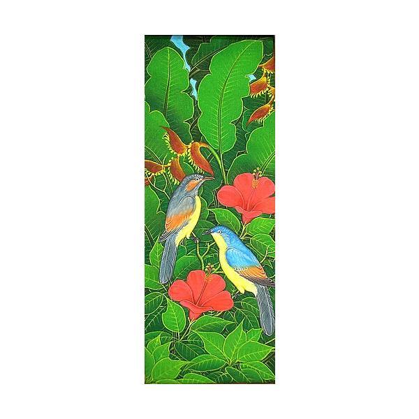 アジアン雑貨 バリ雑貨 バリアート絵画LM縦『森の小鳥達青背赤花』 angkasa
