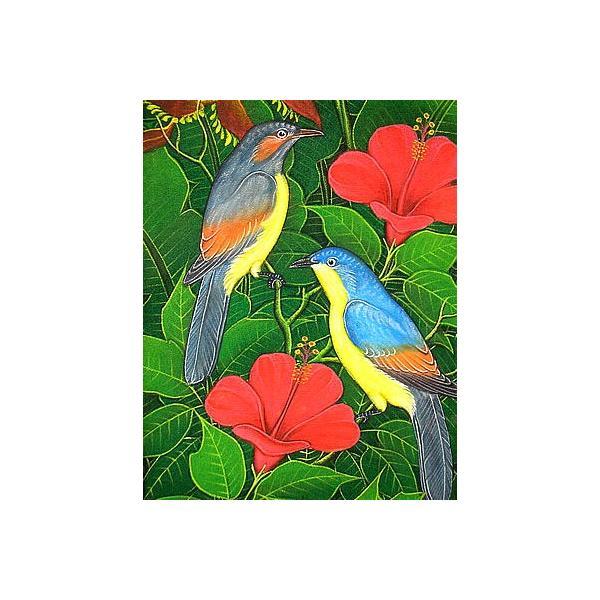 アジアン雑貨 バリ雑貨 バリアート絵画LM縦『森の小鳥達青背赤花』 angkasa 02