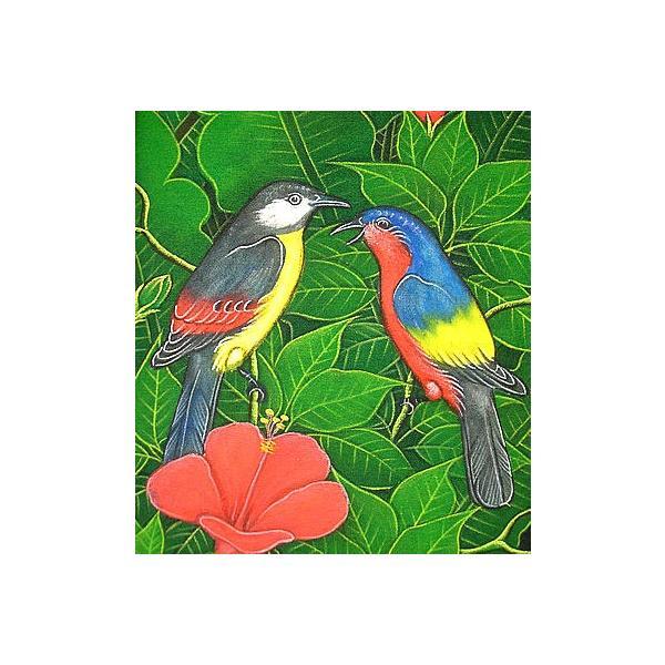 アジアン雑貨 バリ雑貨 バリアート絵画LM縦『森の小鳥達紺背赤花』|angkasa|02