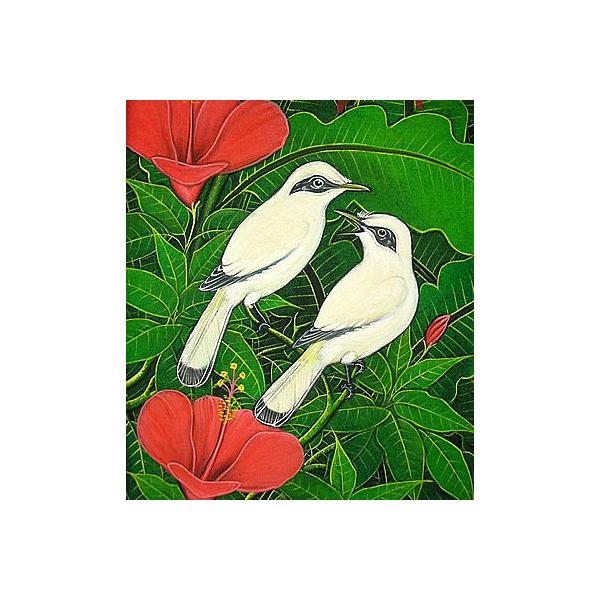 アジアン雑貨 バリ雑貨 バリアート絵画 LM 縦 森の小鳥達 白 赤花|angkasa|02