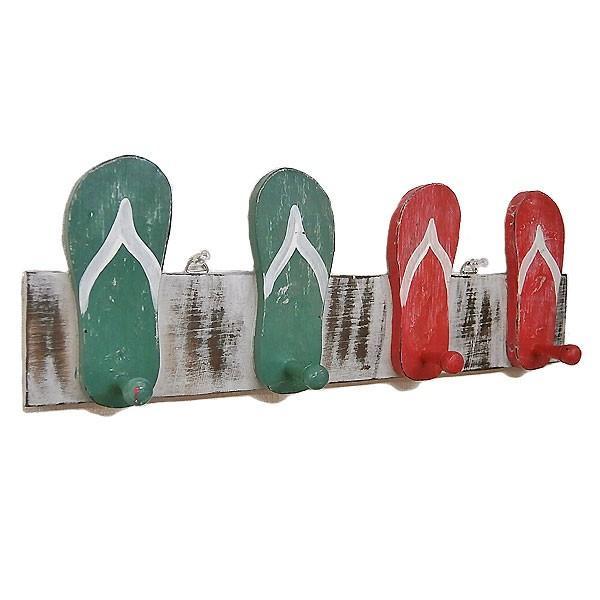 木製 帽子フック コートハンガー [全長50cm] ビーチサンダル 赤×緑系 アジアン雑貨 バリ雑貨