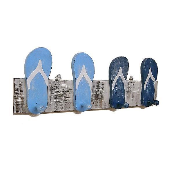 木製 帽子フック コートハンガー [全長50cm] ビーチサンダル ブルー系 アジアン雑貨 バリ雑貨