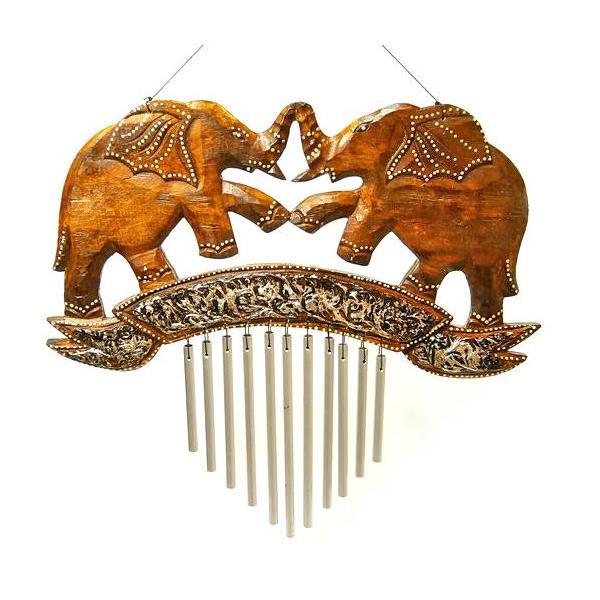 ドアチャイム 風鈴 ウィンドーチャイム 木製 象 シルバー スチールパイプ 音色 楽器 インテリア アジアン バリ タイ ゾウ 雑貨|angkasa