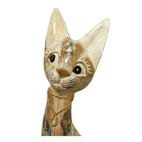アンティーク調 木彫りのバリネコ Mサイズ[H.40cm] ネコ 雑貨 アジアン雑貨 バリ雑貨 タイ雑貨 エスニック おしゃれな かわいい置物 卓上|angkasa|03