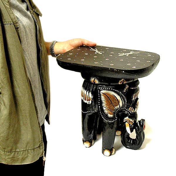 象さんのイス ミニテーブル こげ茶 H.34cm アジアン雑貨 バリ タイ エスニック アニマル 装飾  angkasa 06