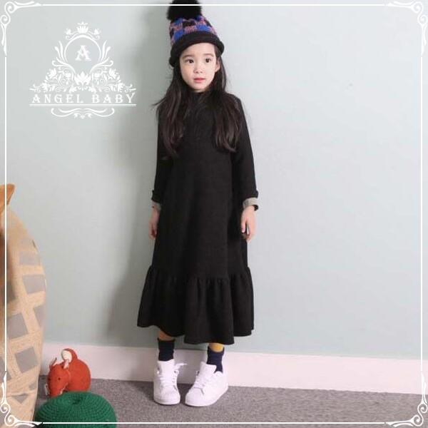a7c2e125f5a57 年末セール子どもドレス キッズワンピース 長袖黒ワンピ ピアノ 発表会 韓国子供服 卒