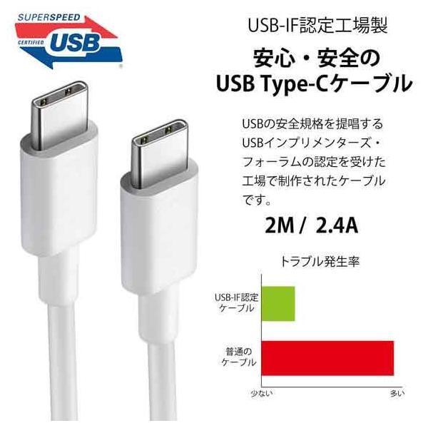 USB Type-C to Type-C ケーブル 18cm 2.4A USB-IF認定工場製 タイプC 充電 急速 ケーブル 端子 iPad Pro Xperia HUAWEI Galaxy USBケーブル 長さ 2m オス オス|anglers-case|02