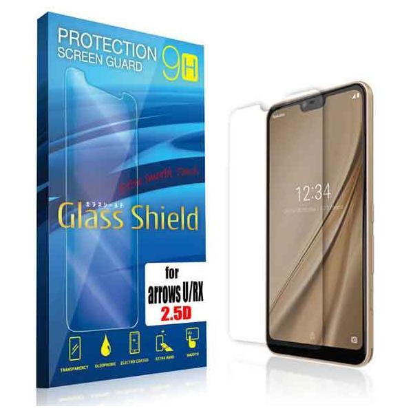 液晶保護フィルム arrows U/RX 2.5D 9H(全透明) ガラスフィルム 強化ガラス アローズ ユー アローズ アールエックス|anglers-case