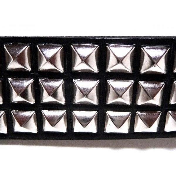 【Lサイズ】40ミリ ブラック バイオレンス パンクベルト  角ピラミッド鋲 R 【日本製】|animal-rock|06