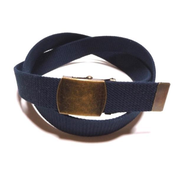 アンティークバックル/ ネイビー (紺) 32ミリ 綿 GIベルト ガチャベルト ローラーバックルベルト /1梱包3本までメール便対応可 日本製 フルサイズ対応