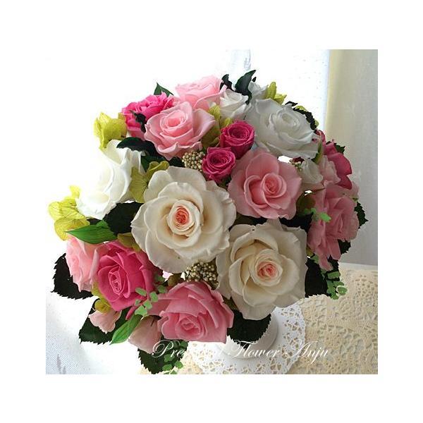 プリザーブドフラワー ギフト 永遠の薔薇をあなたへ ミルフィーユ ピンクローズ 心躍る新しいスタートに|anju87|03